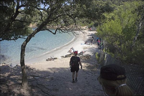 Bad vid  Plage du Dud på ön/nationalparken på Port-Cros, Provence, Frankrike