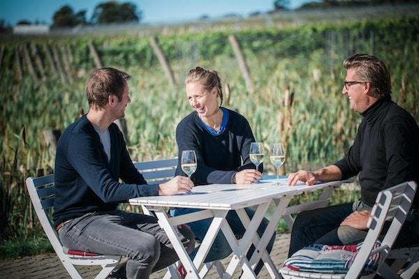 Tre vänner njuter av ett glas vitt vin bland vinrankorna på Arilds Vingård på Kullahalvön, Skåne, Sverige