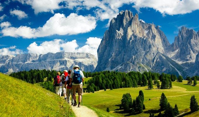 Grupp människor som vandrar i naturen