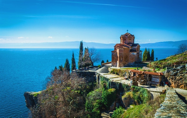 Amazing view over the Church of St. John at Kaneo located over a cliff in the heart of Ohrid (Jerusalem of Europe), Republic of Macedonia.