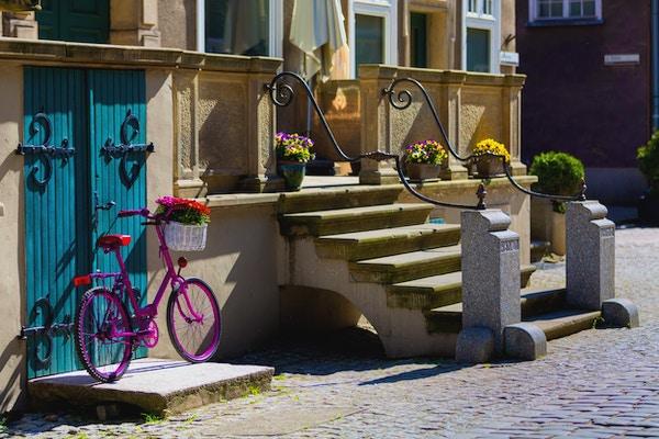 Rosa cykel som vilar i sommarsolen