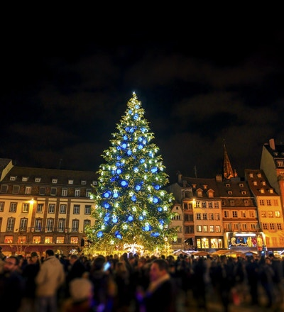 Stor julgran i huvudstaden för jul, Strasbourg stad, Alsace, Frankrike. Noel 2016