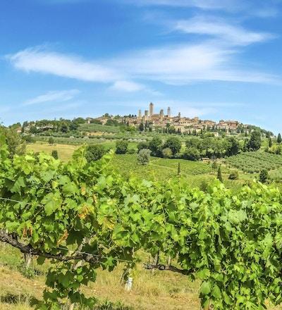 Panoramautsikt över den medeltida staden San Gimignano på en kulle, Toscana, Italien