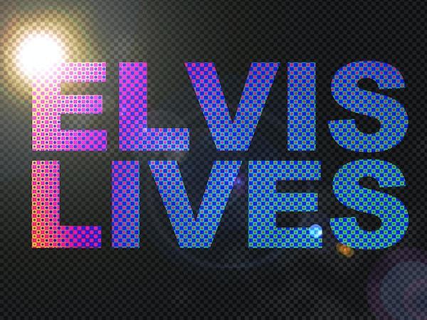 Prickiga ljus Elvis lever teckentext
