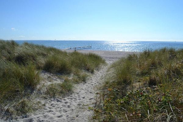 En solig dag på sandstranden med klitter, Ishöj Strand, Danmark