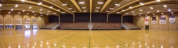 Sporthall med läktare, Farsö, Danmark