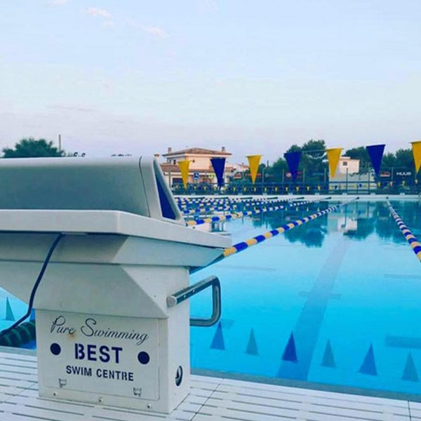 Starting block in the evening sun, olympic outdoor pool, BEST Centre, Colonia Sant Jordi, Mallorca, Spain