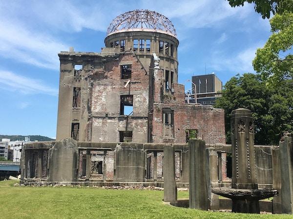 en byggnad ödelagt av bomben som tappades under andra världskriget