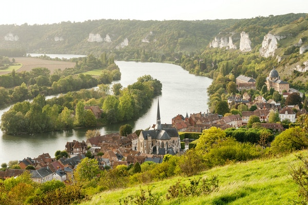 Les Andelys commune on the banks of Seine, Upper Normandy