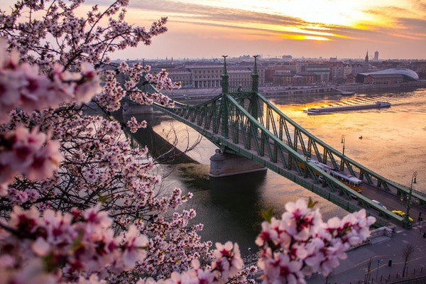 Vårkänsla i Budapest på morgonen