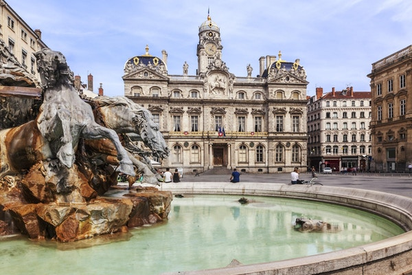 The Terreaux square with fountain in Lyon city, France