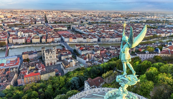 View of Lyon city from Fourviere, France