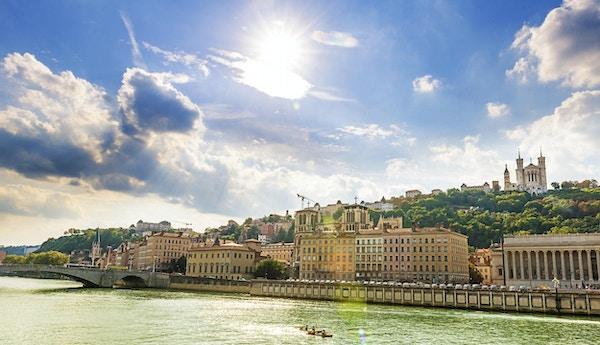 Vacker stad i Lyon, Frankrike