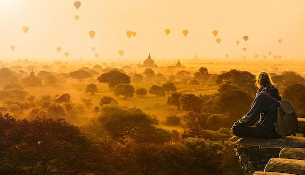 Luftballonger i Bagan, Myanmar