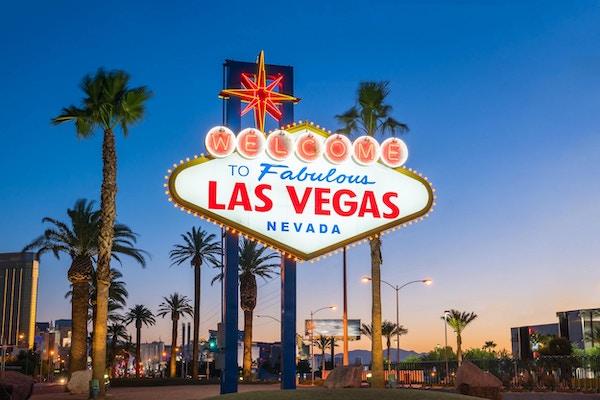 Välkommen till det fantastiska Las Vegas-tecknet i Las Vegas, Nevada USA