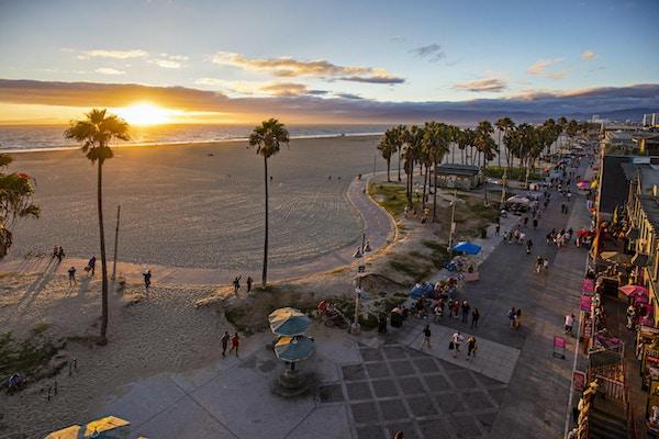 Kvällstemning på Venice Beach, USA.