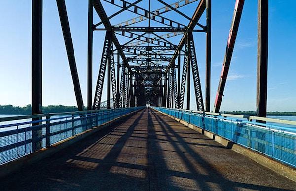 USA Missouri, St Louis-område, Route 66, den gamla kedjan av Roks-bron på Mississippi River
