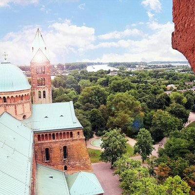 Sikt från ett kyrktorn över staden Speyer