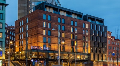 Fasaden på Hotel Rivertoni centrala Göteborg, Göteborg, Sverige