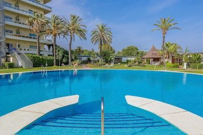 Utomhuspool med palmer och blå himmel, Hotel Sol Marbella Estepona, Marbella, Spanien