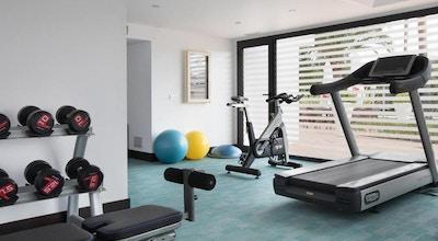 Gym med fria vikter och maskiner, dagsljust, Hotel Encinar de Sotogrande, Estepona, Spanien