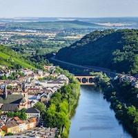 Bingen am Rhein and Rhine river in Rheinland-Pfalz, Germany
