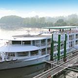 Flodkryssningsfartyg som ligger till kajen. Foto.