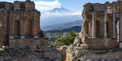 Två sicilianska landmärken på ett foto