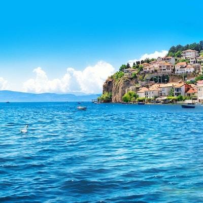 Makedonien - land, Ohrid, stad, stadsbild, Europa