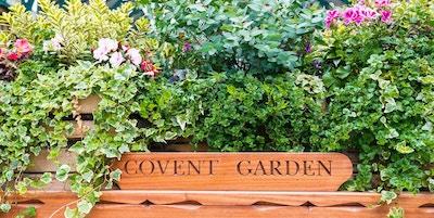LONDON UK - 20 juli 2018: Blommafylld vagn på Londons berömda gamla blommamarknad, Covent Garden.