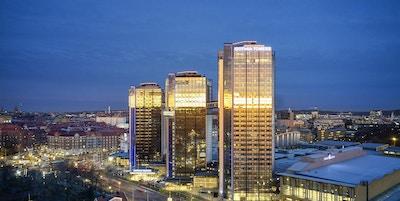 Utsikt över de tre tornen och Göteborg, Gothia Towers, Göteborg, Sverige