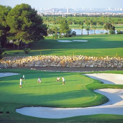 Golfbana med spelare