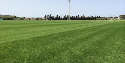 Naturgräsplan en solig vårdag, elljus, Maltas Fotbollförbund, Malta