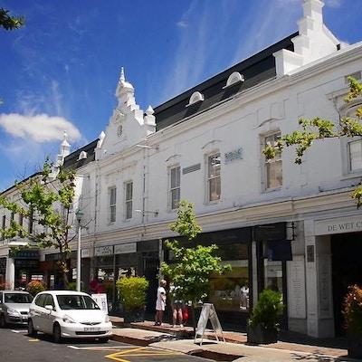 Historisk centrum med gamla välbevarade träbyggnader, Stellenbosch, Sydafrika