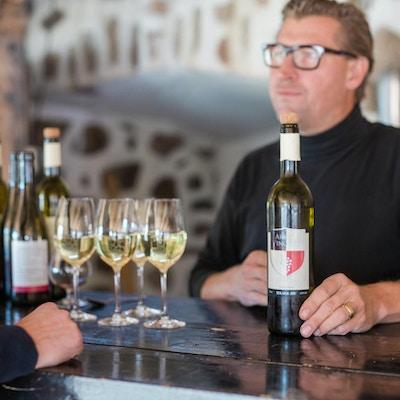 Provning av vitt vin vid baren, Arilds Vingård, Skåne, Sverige
