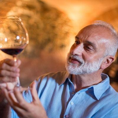 Familjesemestrar i Langhe-regionen, Piemonte, Italien: Man väljer och smakar vin